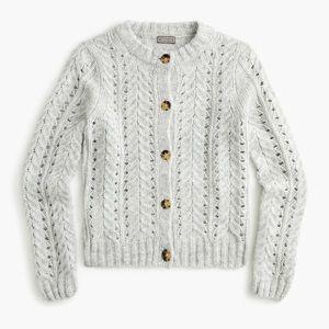 Point Sur Pointelle Knit Sweater Cardigan